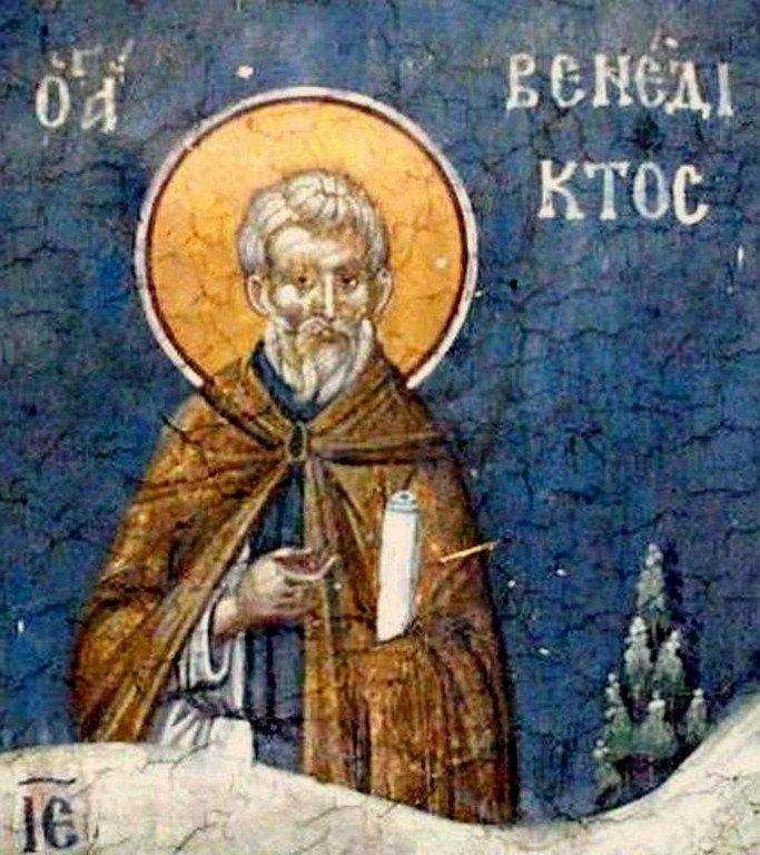 Святой Преподобный Венедикт Нурсийский. Фреска монастыря Грачаница, Косово, Сербия. Около 1320 года.