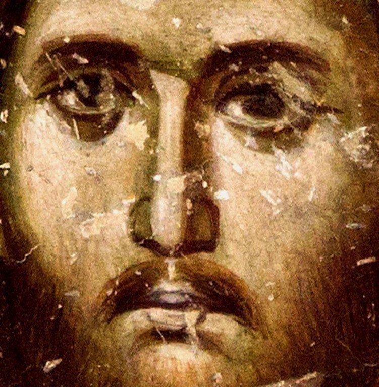 Благословляющий Христос. Фреска церкви Святой Троицы в монастыре Сопочаны, Сербия. 1265 год. Лик Спасителя.