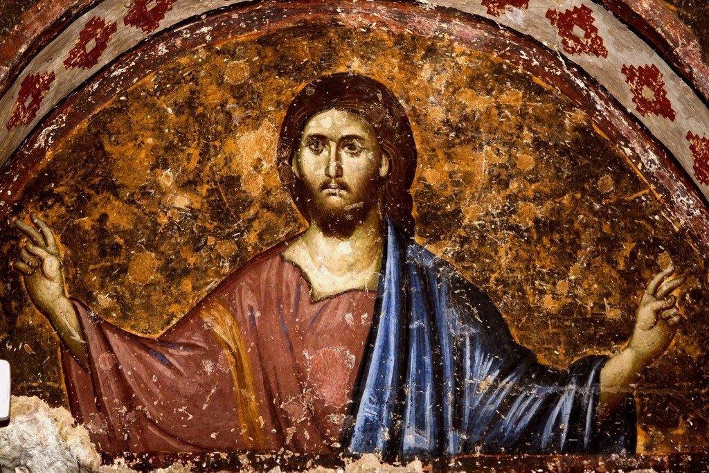 Благословляющий Христос. Фреска церкви Святой Троицы в монастыре Сопочаны, Сербия. 1265 год.