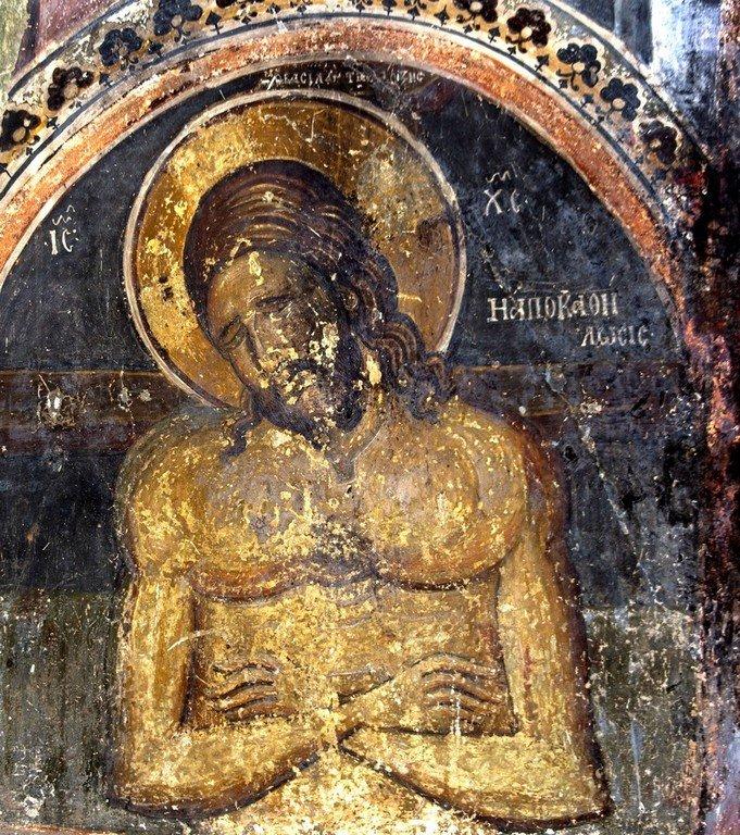 Христос во гробе. Фреска церкви Святого Николая Больничного в Охриде, Македония. XIV век.