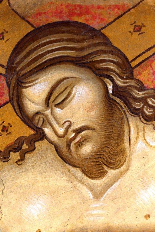 Христос во гробе. Фреска церкви Святого Димитрия Маркова монастыря близ Скопье, Македония. Около 1376 года.