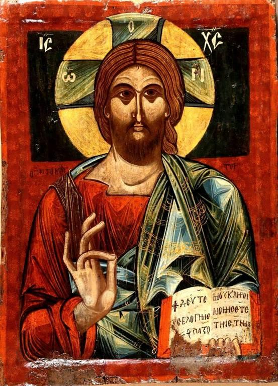 Христос Пантократор. Икона XV века. Национальный музей средневекового искусства в городе Корча, Албания.