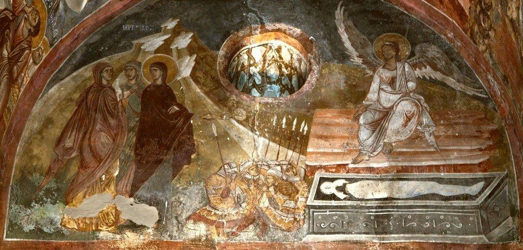 Жены-Мироносицы у Гроба Господня. Фреска церкви Святого Димитрия в Марковом монастыре близ Скопье, Македония. Около 1376 года.