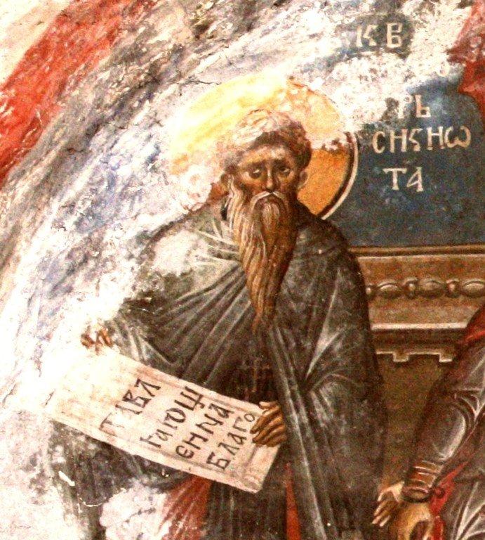 Святой Преподобный Феодор Сикеот, Епископ Анастасиупольский. Фреска монастыря Высокие Дечаны, Косово, Сербия. Около 1350 года.