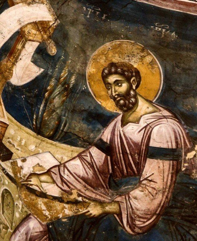 Святой Апостол и Евангелист Марк. Фреска церкви Богоматери Одигитрии в монастыре Печская Патриархия, Косово, Сербия. 1330-е годы.
