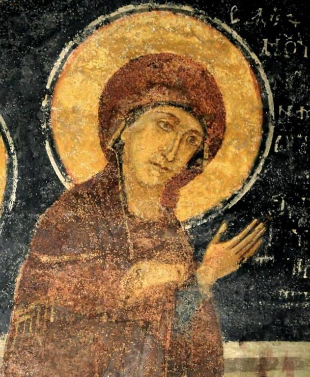 Преполовение Пятидесятницы. Фреска церкви Святых Николая и Пантелеимона (Боянской церкви) близ Софии, Болгария. 1259 год. Фрагмент.