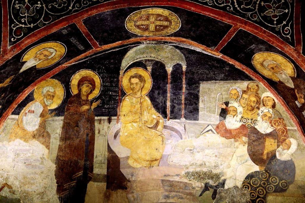 Преполовение Пятидесятницы. Фреска церкви Святых Николая и Пантелеимона (Боянской церкви) близ Софии, Болгария. 1259 год.