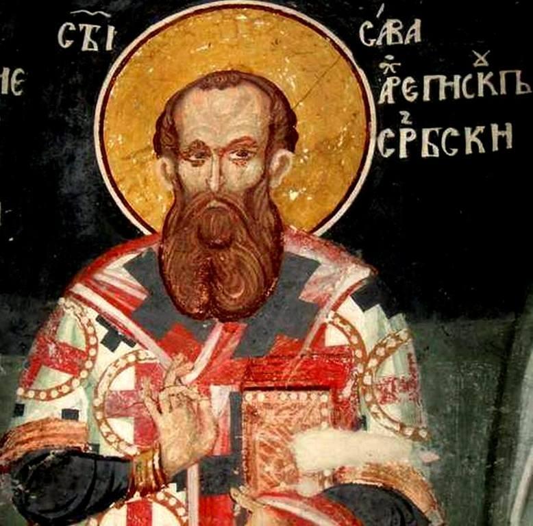 Святитель Савва, первый Архиепископ Сербский. Фреска монастыря Святого Иоанна Богослова в Поганово, Сербия. Конец XV века.