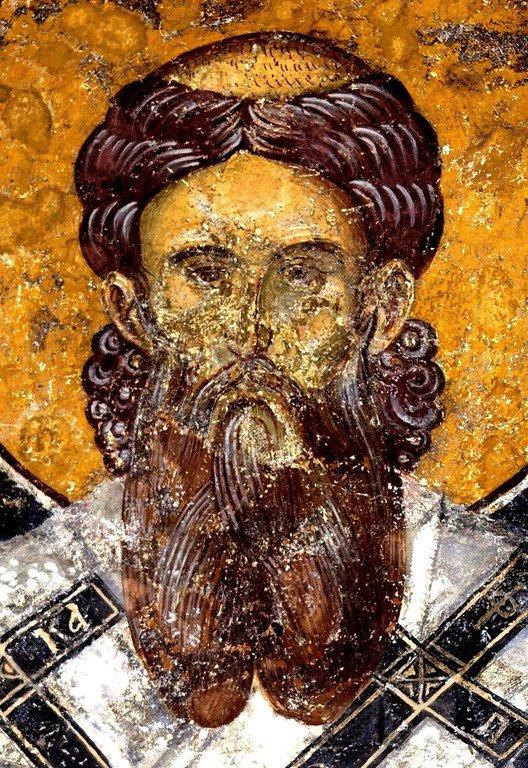 Святитель Савва, первый Архиепископ Сербский. Фреска церкви Святых Апостолов в монастыре Печская Патриархия, Косово, Сербия. 1260 - 1263 годы.