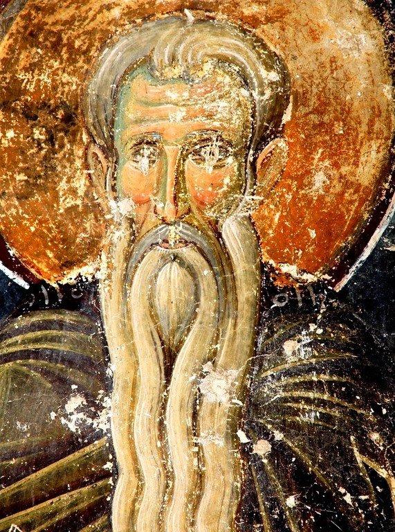 Святой Преподобный Арсений Великий. Фреска притвора церкви Вознесения Господня в монастыре Милешева (Милешево), Сербия. XIII век.