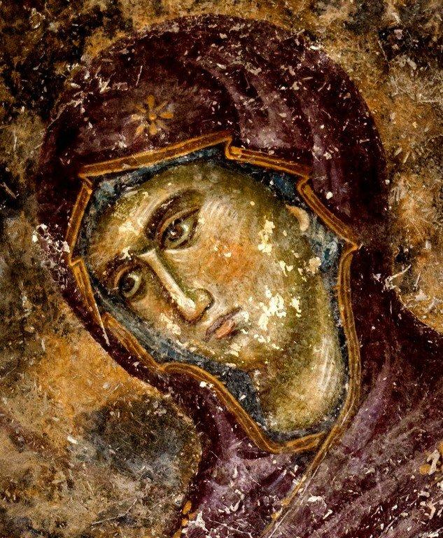 Богоматерь Агиосоритисса. Фреска церкви Святой Троицы в монастыре Сопочаны, Сербия. 1265 год.