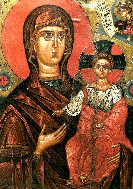 Богоматерь Одигитрия. Икона XV века. Национальный музей средневекового искусства в г. Корча, Албания.