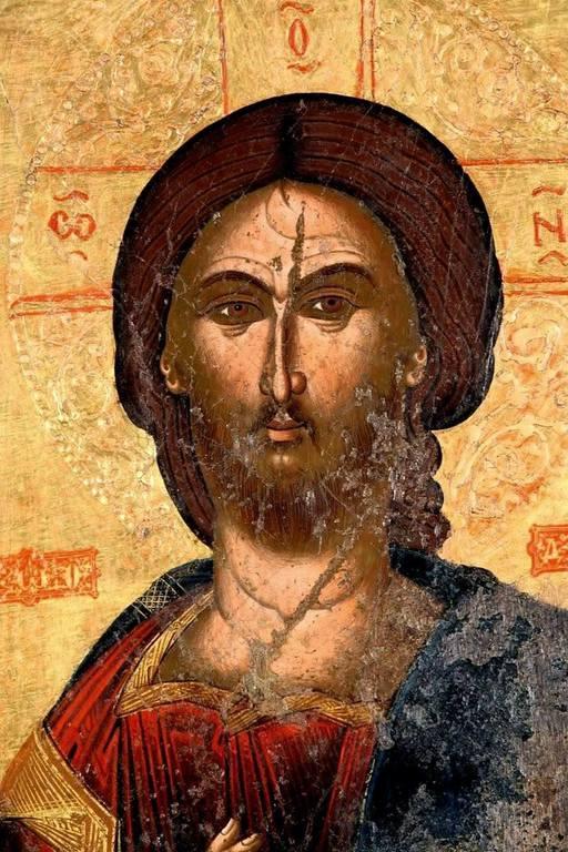 Христос Пантократор. Икона. Албания, XVI век. Лик Спасителя.