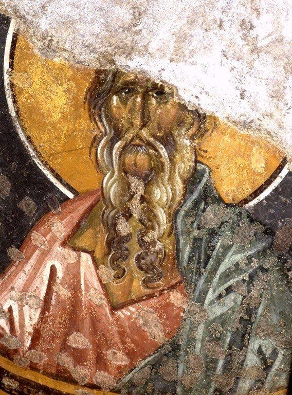Святой Праотец Ной. Фреска церкви Богородицы Левишки в Призрене, Косово, Сербия. Около 1310 - 1313 годов. Иконописцы Михаил Астрапа и Евтихий.