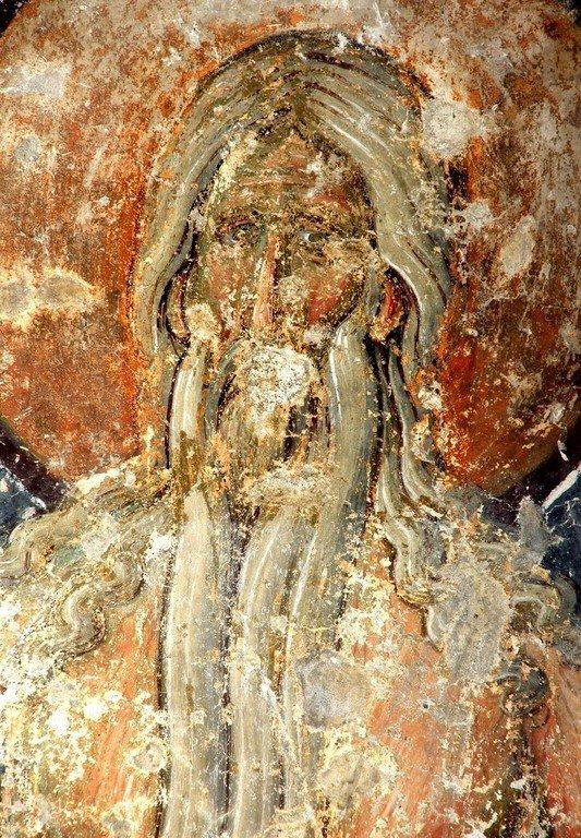 Святой Преподобный Онуфрий Великий. Фреска церкви Вознесения Господня в монастыре Милешева (Милешево), Сербия. XIII век.