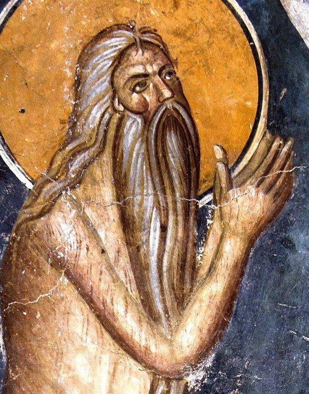 Святой Преподобный Онуфрий Великий. Фреска церкви Богоматери Одигитрии в монастыре Печская Патриархия, Косово, Сербия. 1330-е годы.