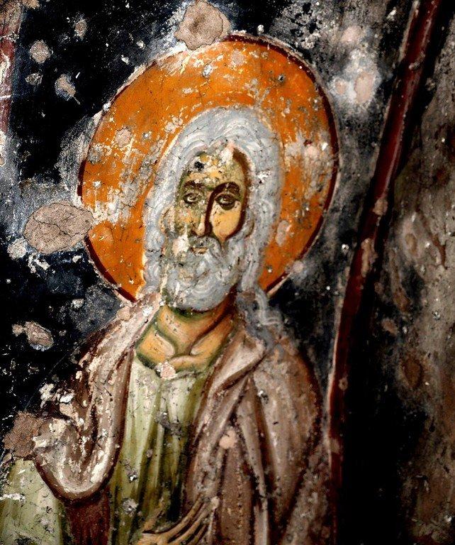 Святой Пророк Елисей. Фреска церкви Святого Ахиллия в Ариле (Арилье), Сербия. 1296 год.