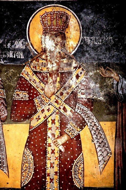 Святой Великомученик и Благоверный Князь Лазарь Сербский. Фреска монастыря Печская Патриархия, Косово, Сербия. XVII век.