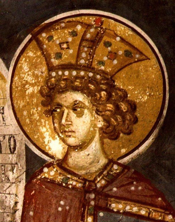 Святой Пророк Царь Соломон. Фреска церкви Святых Апостолов в монастыре Печская Патриархия, Косово, Сербия. Около 1350 года.