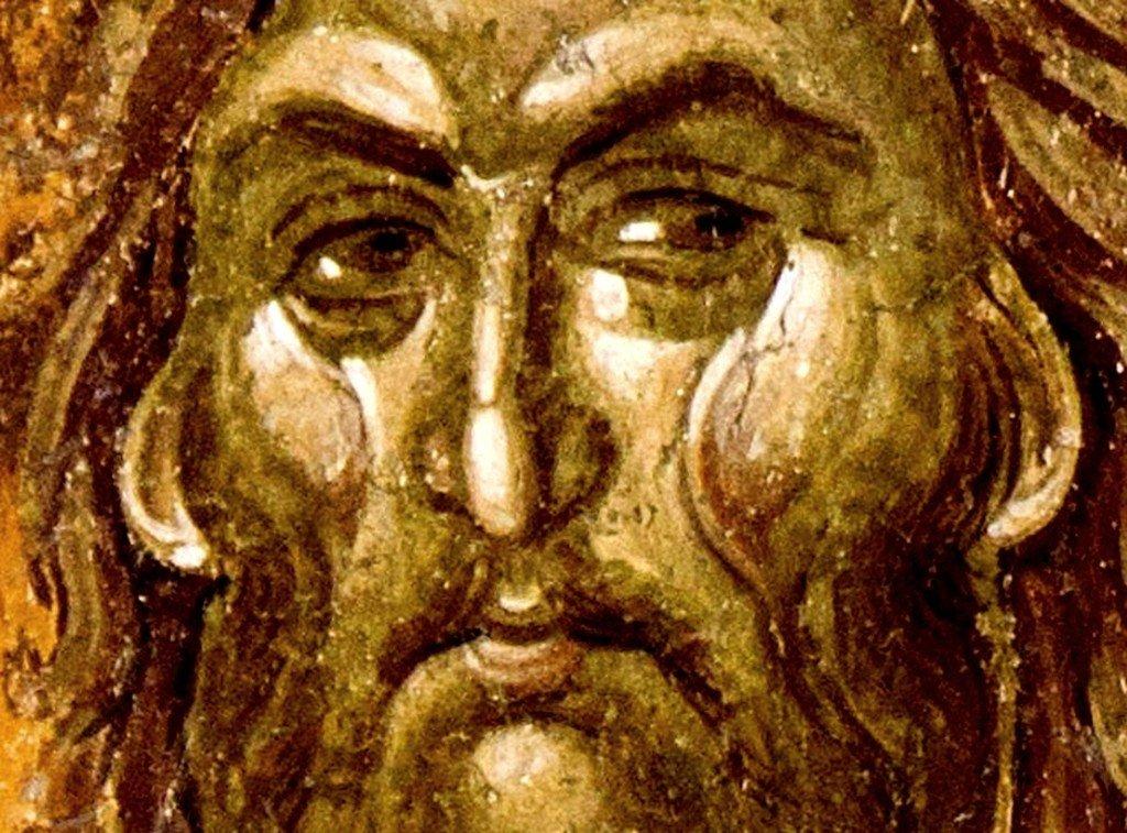 Святой Иоанн Предтеча. Фреска параклиса Святого Николая церкви Успения Пресвятой Богородицы в монастыре Грачаница, Косово, Сербия. Около 1320 года.