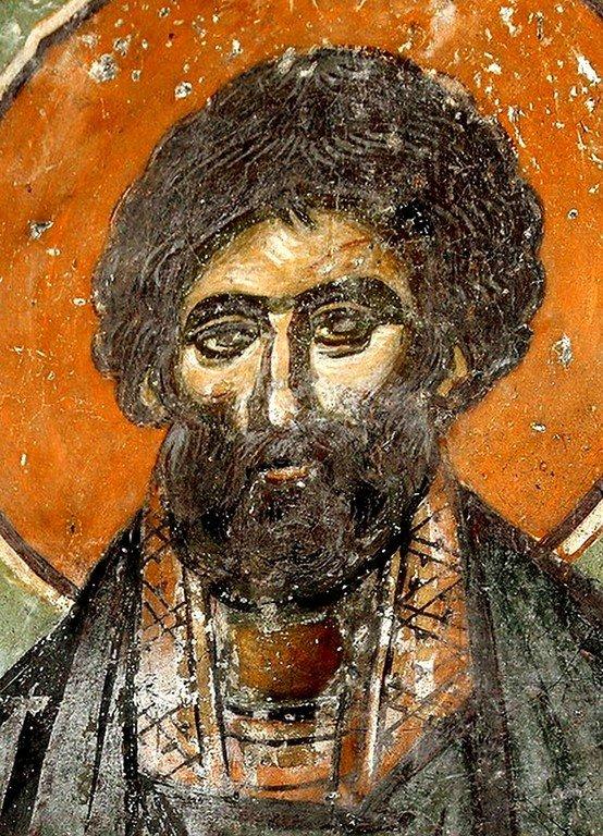 Святой Преподобный Сампсон Странноприимец. Фреска церкви Святого Ахиллия в Ариле (Арилье), Сербия. 1296 год.