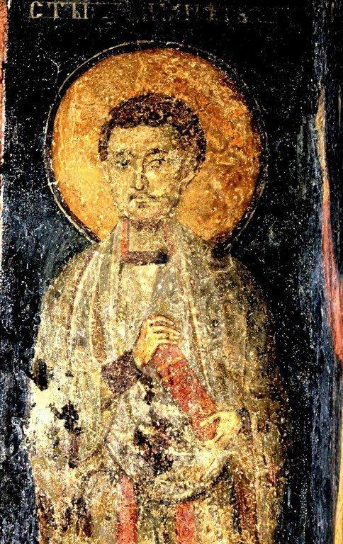 Святой Бессребреник Дамиан. Фреска церкви Святых Николая и Пантелеимона (Боянской церкви) близ Софии, Болгария. 1259 год.