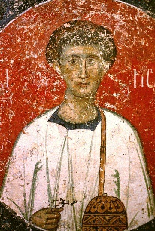 Святой Мученик Исавр Афинянин, диакон. Фреска церкви Святых Апостолов в монастыре Печская Патриархия, Косово, Сербия. 1260 - 1263 годы.