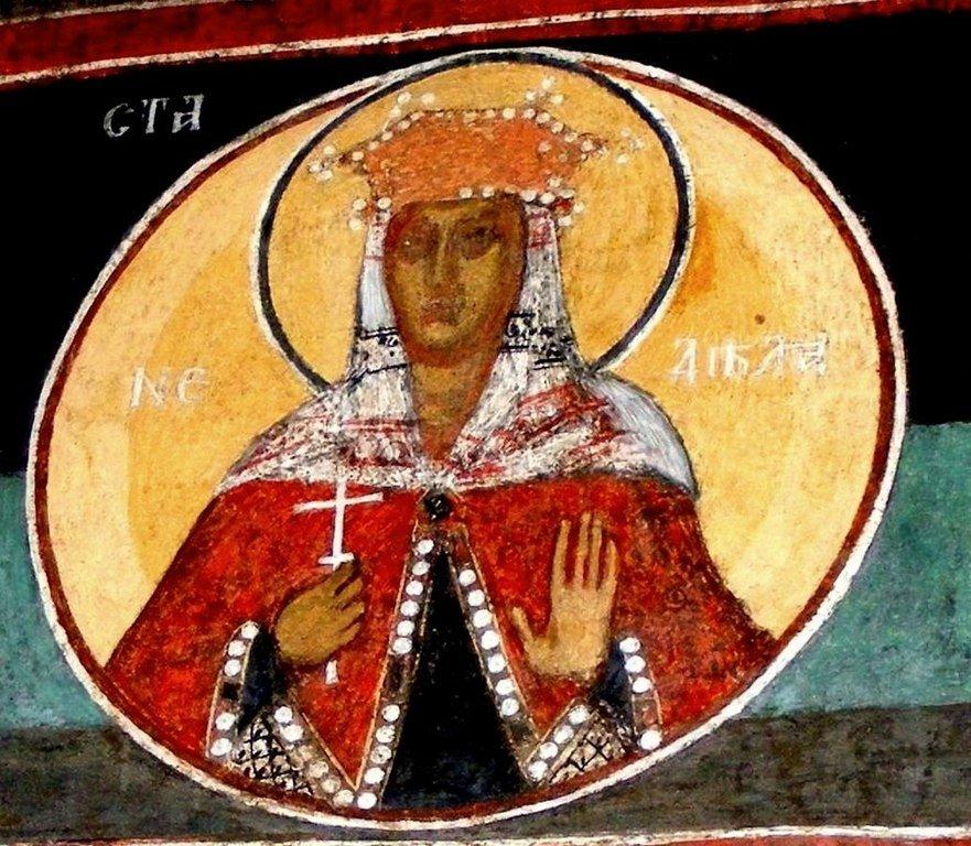 Святая Мученица Кириакия Никомидийская. Фреска Кремиковского монастыря Святого Георгия Победоносца близ Софии, Болгария. 1493 год.