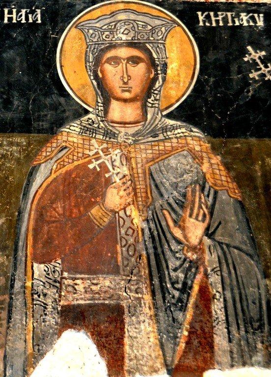 Святая Мученица Кириакия Никомидийская. Фреска церкви Святого Георгия в Велико Тырново, Болгария.