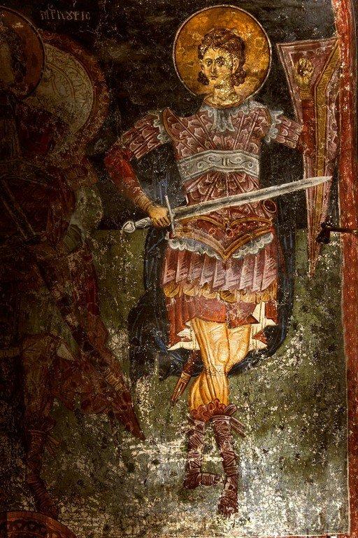 Святой Великомученик Прокопий. Фреска церкви Святых Апостолов в монастыре Печская Патриархия, Косово, Сербия. 1260 - 1263 годы.