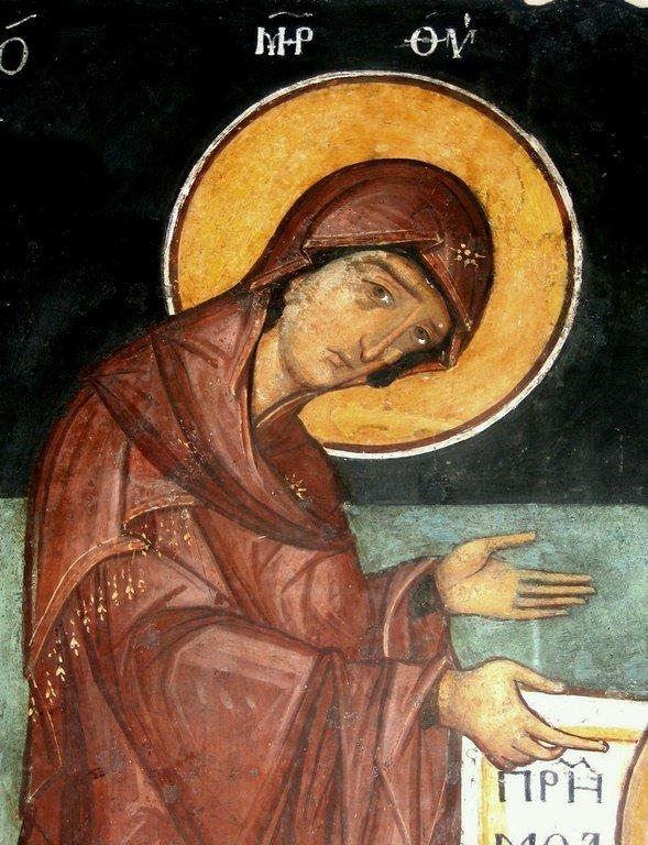 Богоматерь Параклесис (Агиосоритисса). Фреска Кремиковского монастыря Святого Георгия Победоносца близ Софии, Болгария. 1493 год.