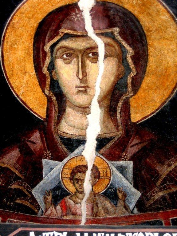 Пресвятая Богородица с Младенцем. Фреска Кремиковского монастыря Святого Георгия Победоносца близ Софии, Болгария. 1493 год.