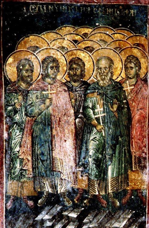 Святые 45 Мучеников Никопольских. Фреска монастыря Высокие Дечаны, Косово, Сербия. Около 1350 года.