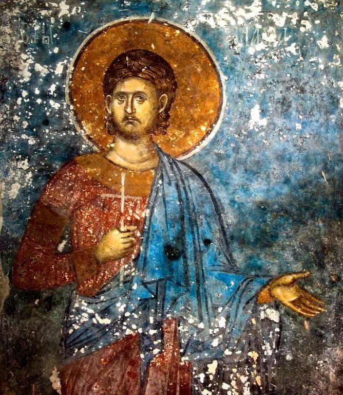 Святой Мученик Иларий Калиптский. Фреска монастыря Высокие Дечаны, Косово, Сербия. Около 1350 года.