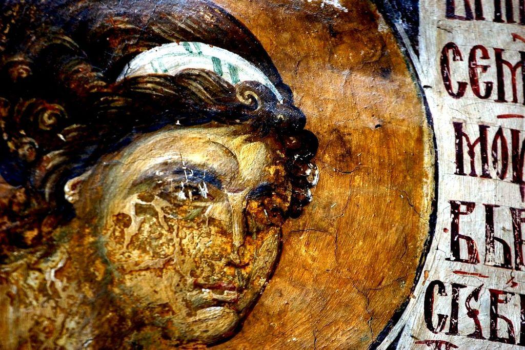 Архангел Гавриил. Фреска монастыря Высокие Дечаны, Косово, Сербия. Около 1350 года.