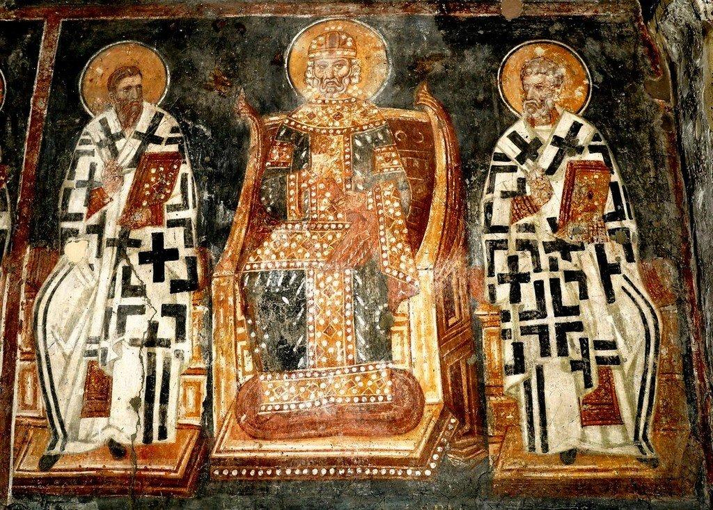 Четвёртый Вселенский Собор. Фреска церкви Святого Ахиллия в Ариле (Арилье), Сербия. 1296 год. Фрагмент.