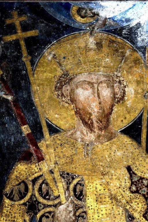 Святой Праведный Стефан Высокий (Стефан Лазаревич), правитель Сербский. Фреска церкви Святой Троицы в монастыре Манасия (Ресава), Сербия. До 1418 года.