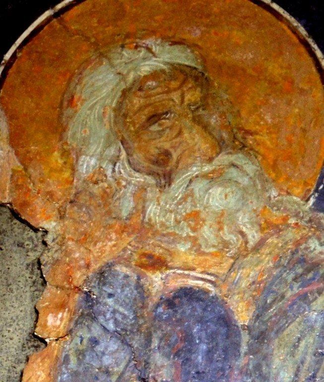 Святой Пророк Божий Илия в пустыне. Фреска церкви Сорока Мучеников в Велико Тырново, Болгария.