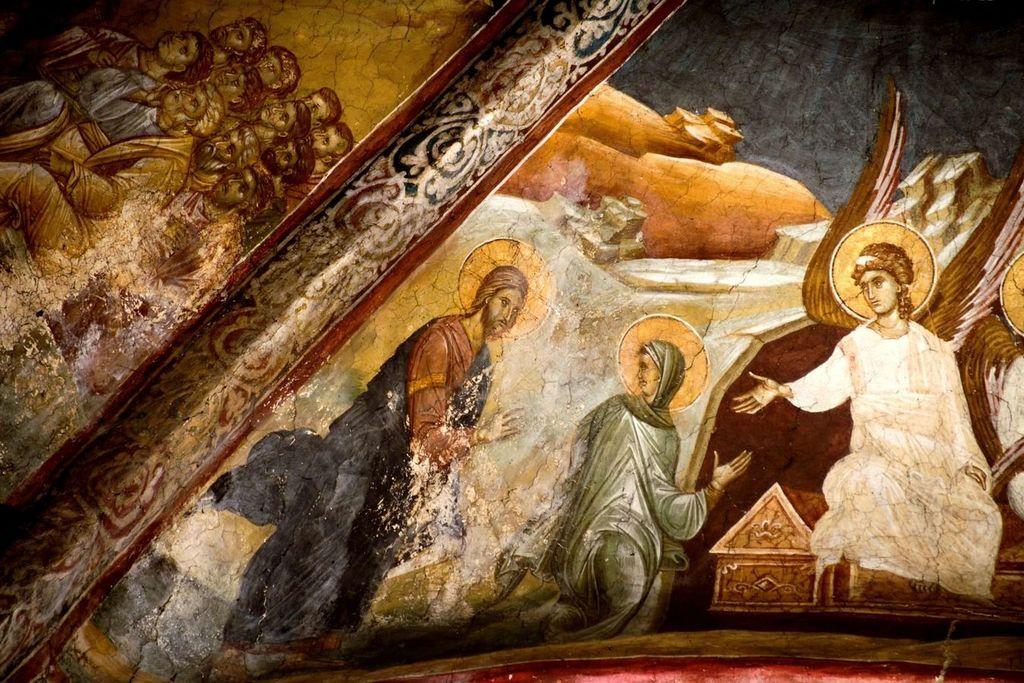 Святая Мироносица Равноапостольная Мария Магдалина у Гроба Господня. Фреска монастыря Высокие Дечаны, Косово, Сербия. Около 1350 года. Фрагмент.