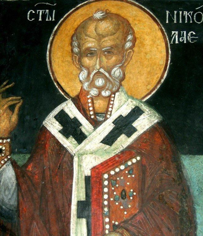 Святитель Николай, Архиепископ Мир Ликийских, Чудотворец. Фреска Кремиковского монастыря Святого Георгия Победоносца близ Софии, Болгария. 1493 год.