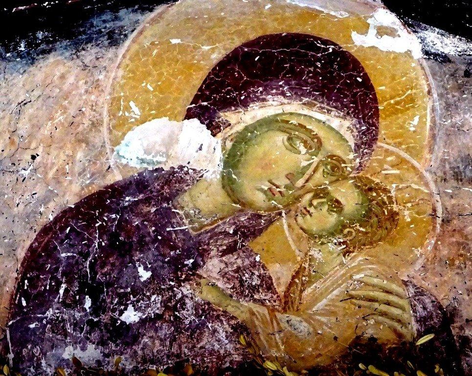 Богоматерь Елеуса. Фреска монастыря Трескавац (Трескавец), Македония. XIV век.
