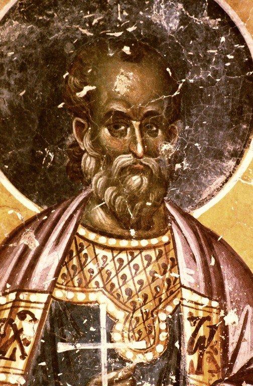 Святой Мученик Фотий Никомидийский. Фреска церкви Святых Иоакима и Анны (Королевской церкви) в монастыре Студеница, Сербия. 1314 год.