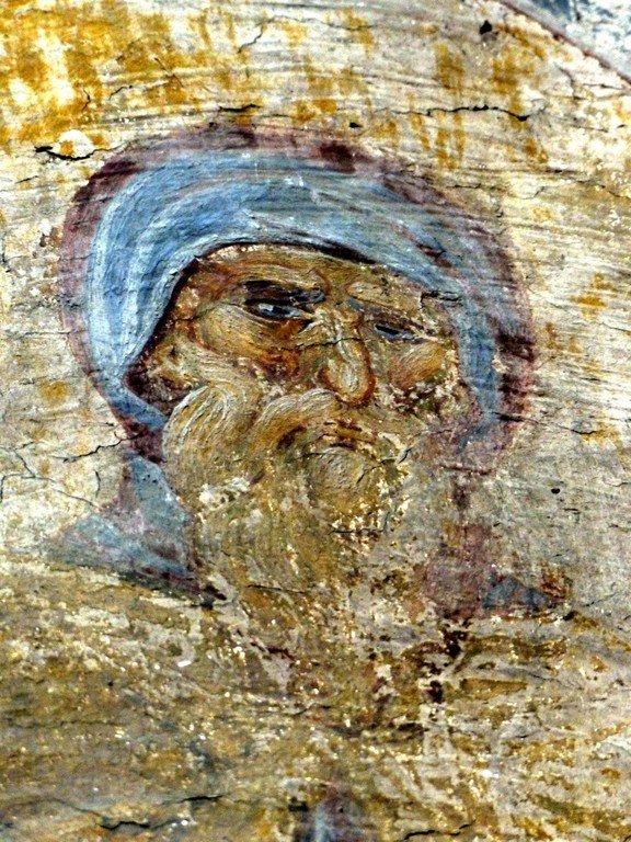 Святой Преподобный Максим Исповедник. Фреска церкви Вознесения Господня в монастыре Раваница, Сербия. До 1389 года.