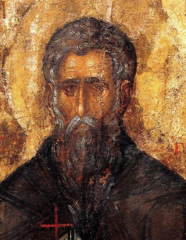 Святой Преподобный Иоанн Рыльский. Икона XIV века. Рильский монастырь, Болгария. Фрагмент.