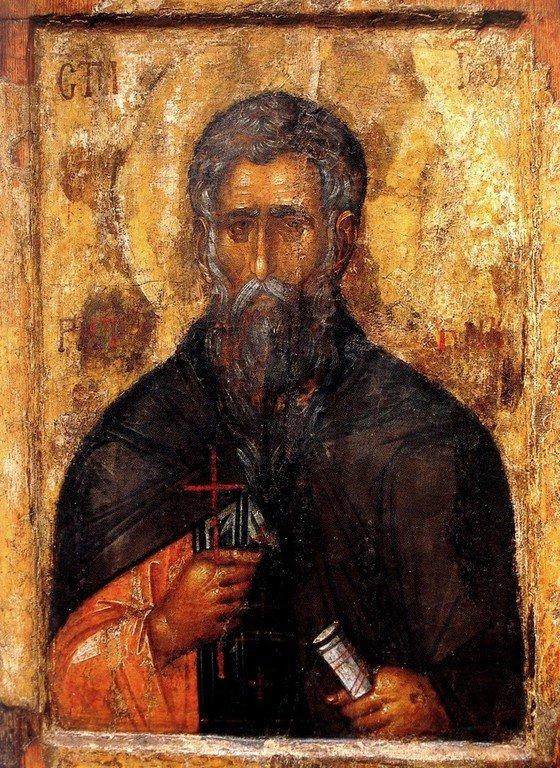 Святой Преподобный Иоанн Рыльский. Икона XIV века. Рильский монастырь, Болгария.
