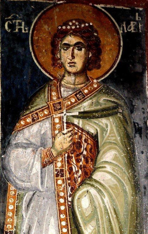 Святой Мученик Лавр Иллирийский. Фреска церкви Святого Ахиллия в Ариле (Арилье), Сербия. 1296 год.