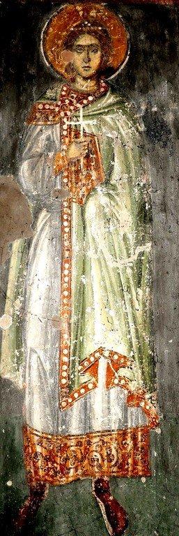 Святой Мученик Флор Иллирийский. Фреска церкви Святого Ахиллия в Ариле (Арилье), Сербия. 1296 год.