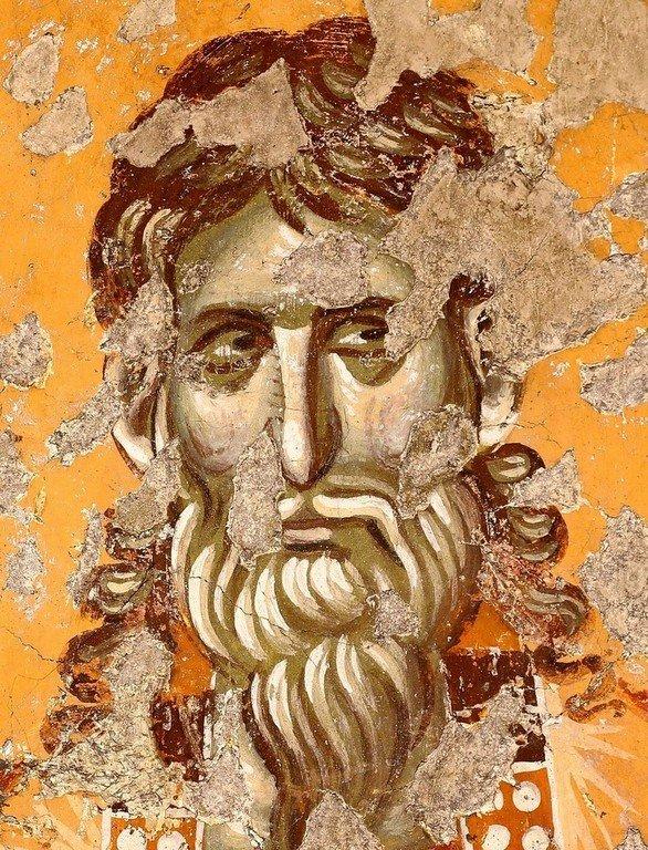 Лик Святого Мученика. Фреска церкви Богородицы Левишки в Призрене, Косово, Сербия. Около 1310 - 1313 годов. Иконописцы Михаил Астрапа и Евтихий.