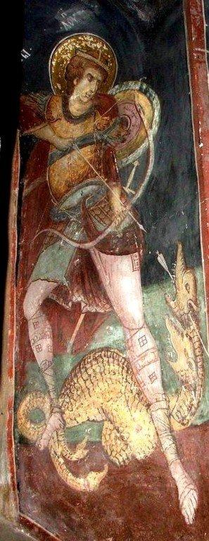 Святой Мученик Лупп Солунский. Фреска монастыря Козия, Румыния.