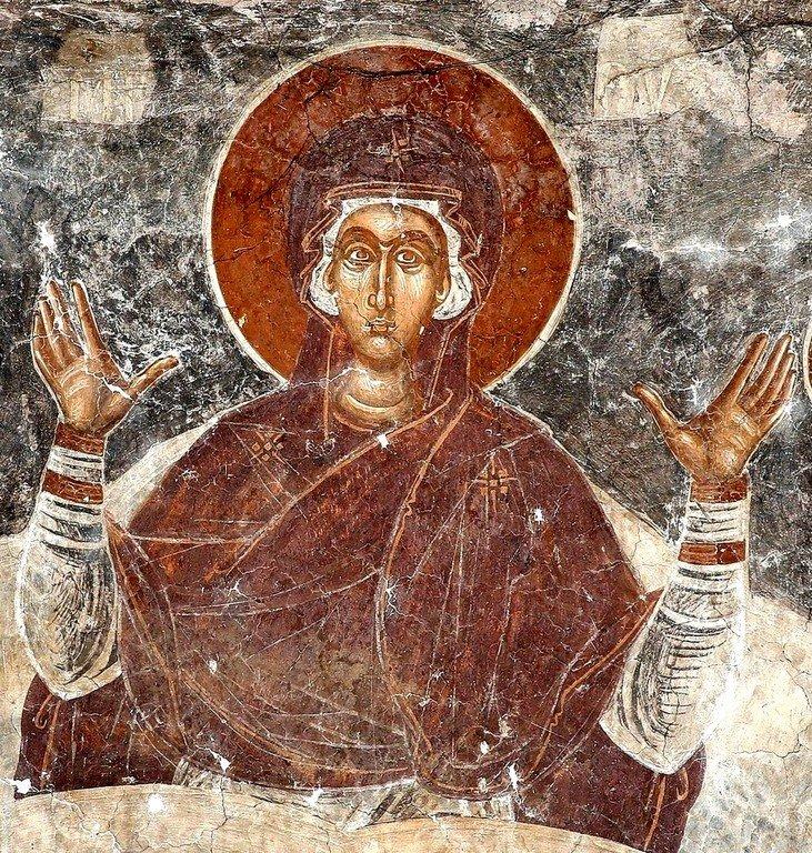 Богоматерь Оранта. Фреска церкви Спаса в Призрене, Косово, Сербия. XIV век.